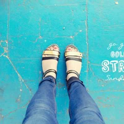 DIY Go Go Gold Strip Sandals