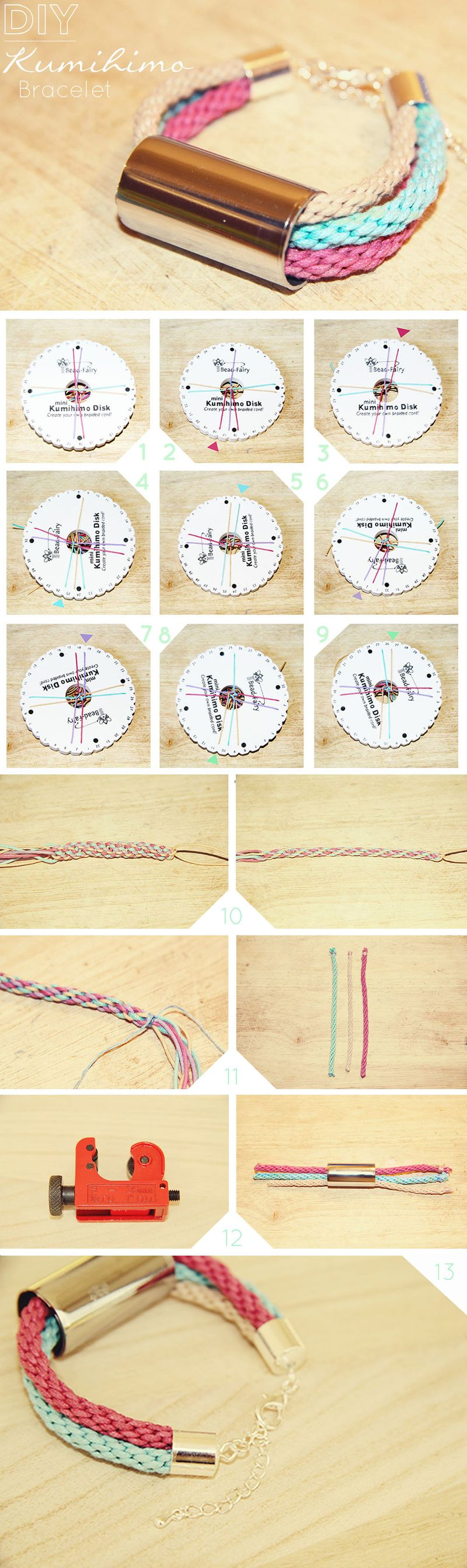 Diy kumihimo bracelet fall for