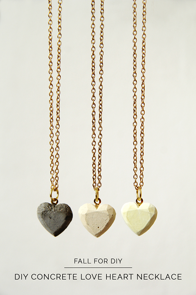DIY Concrete Love Hearts Necklace Fall For DIY