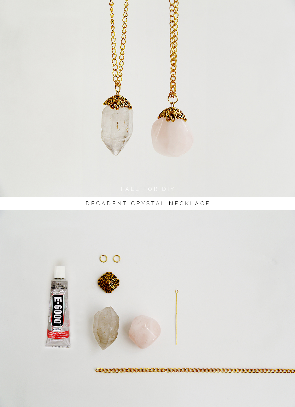 Diy decadent crystal necklace fall for diy for How to make rock jewelry