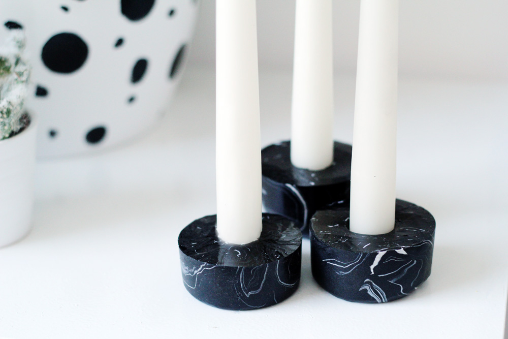 Diy Black Marbled Candle Holders Fall For Diy