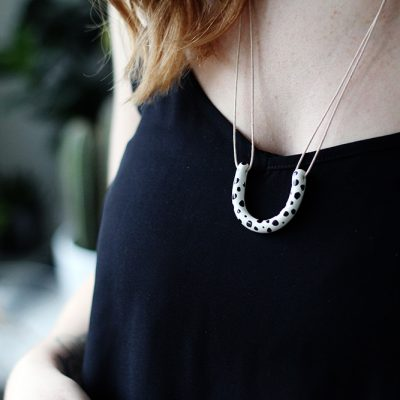 DIY Dalmatian Spotted Horseshoe Necklace