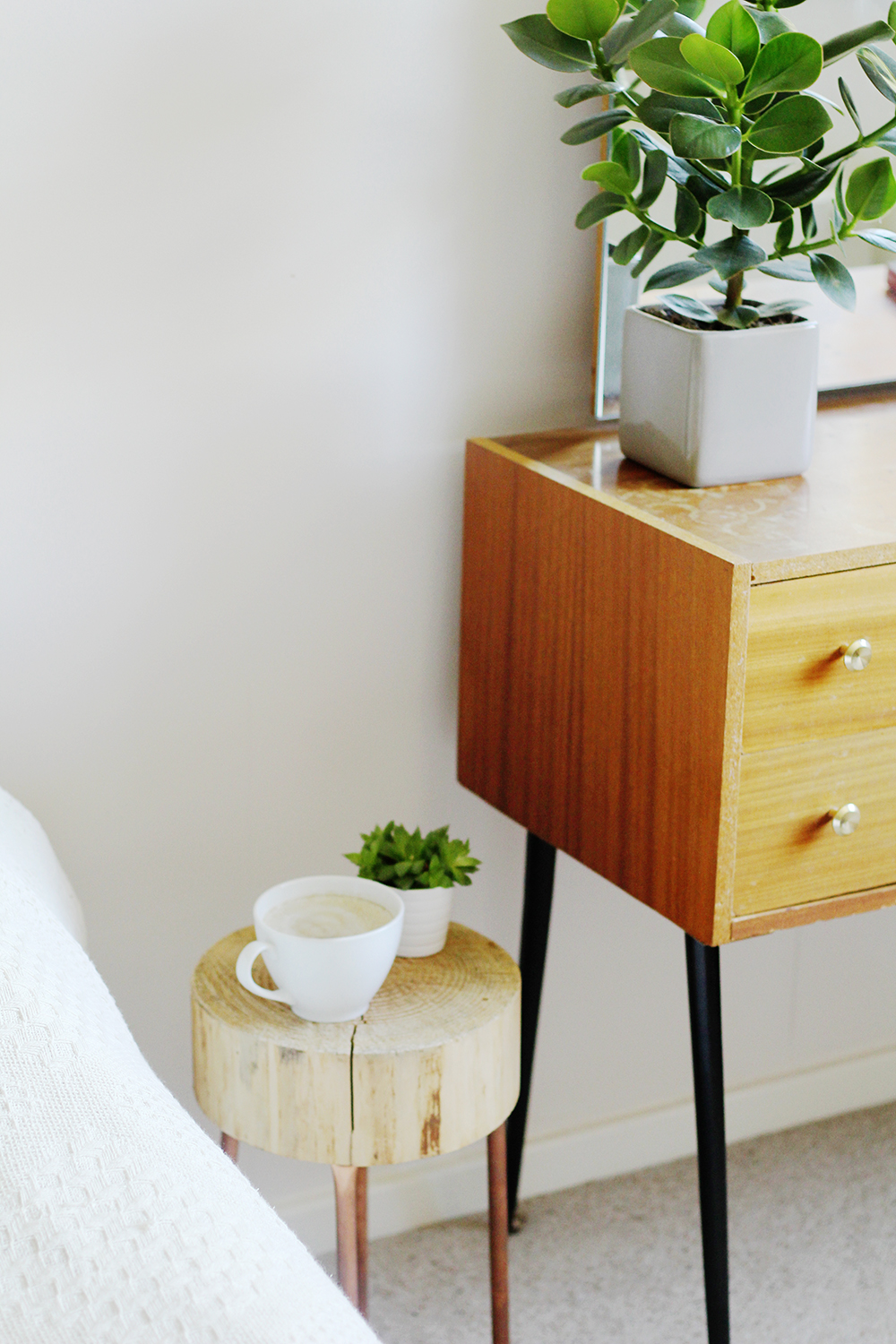 Diy copper pipe and wood slice side table fall for