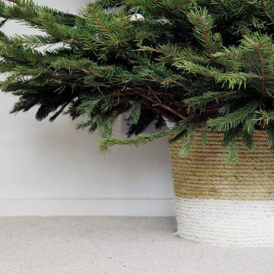 DIY Rope Wrapped Christmas Tree Basket