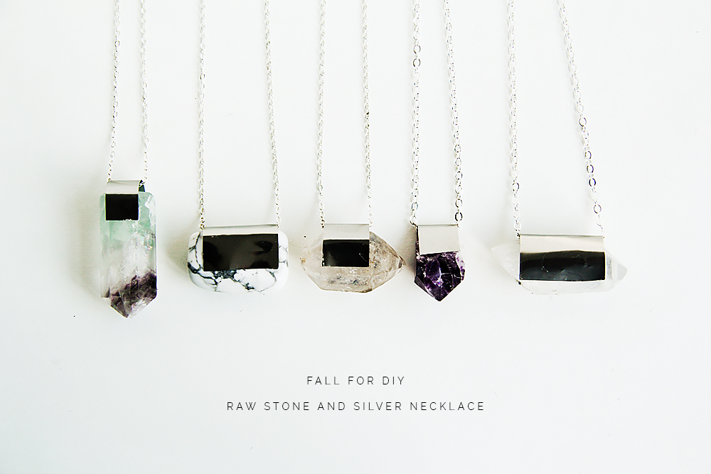 Fall For DIY Raw Stone and Silver necklace