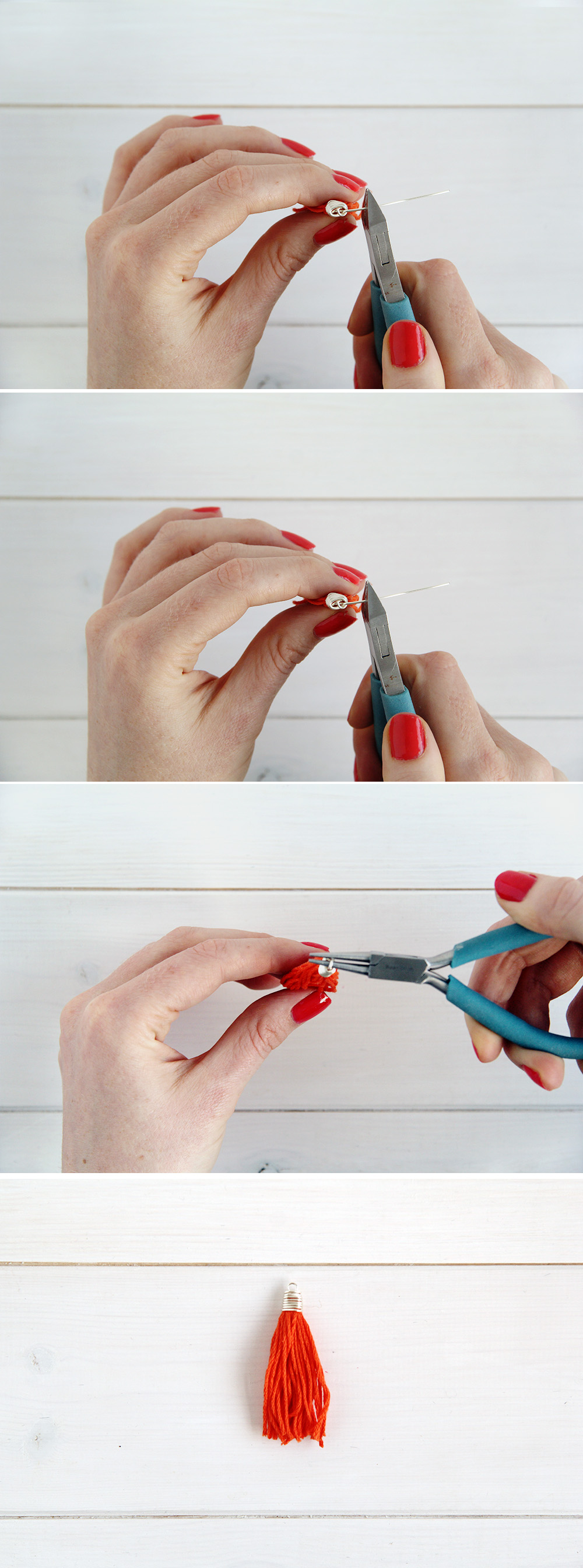 How to make wire wrapped tassel caps fall for diy 7 fold over 90 degrees trim to about 1cm and turn a loop if you want to know more about perfecting basic jewellery making techniques like this one check solutioingenieria Image collections