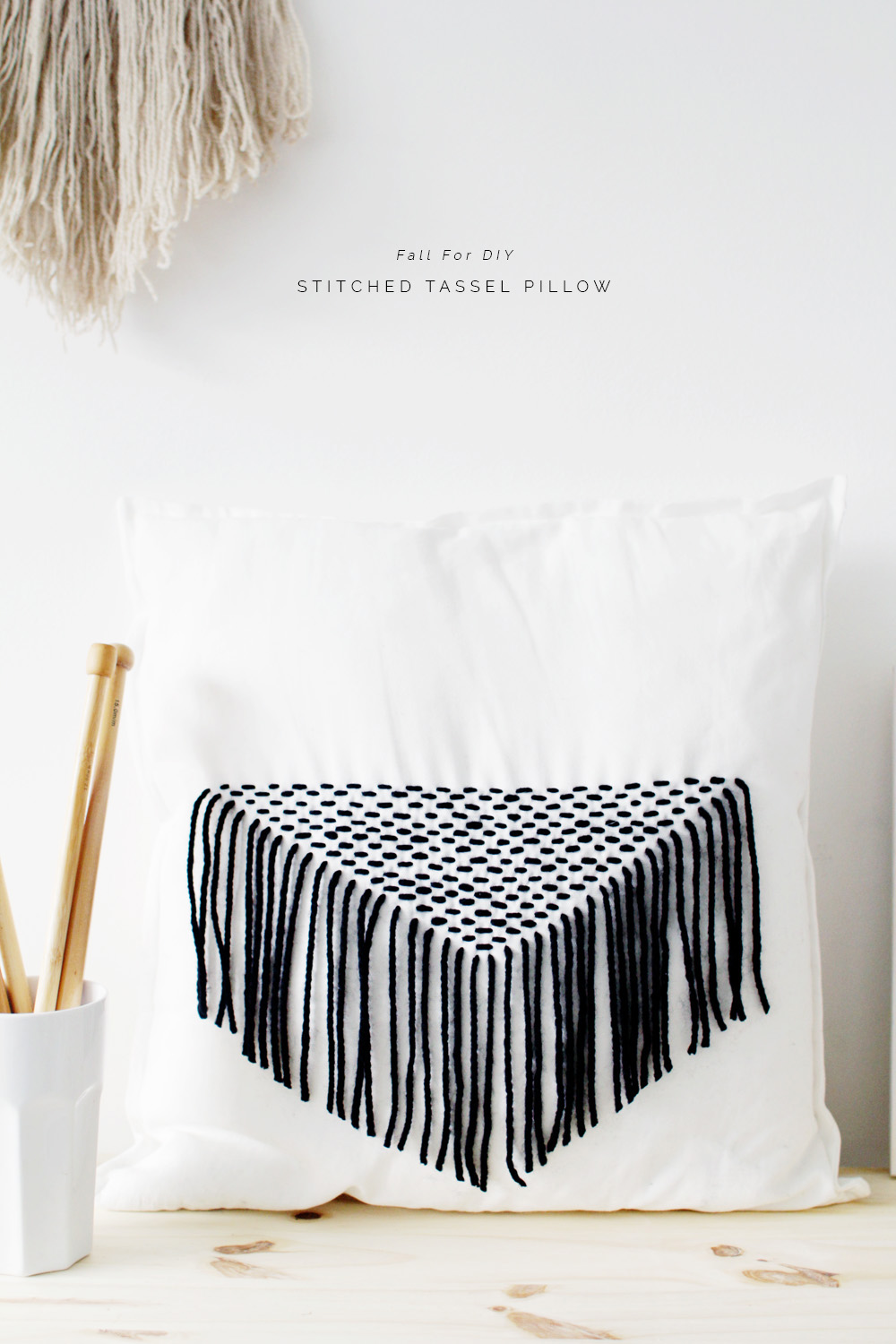 stitched tassel pillow diy