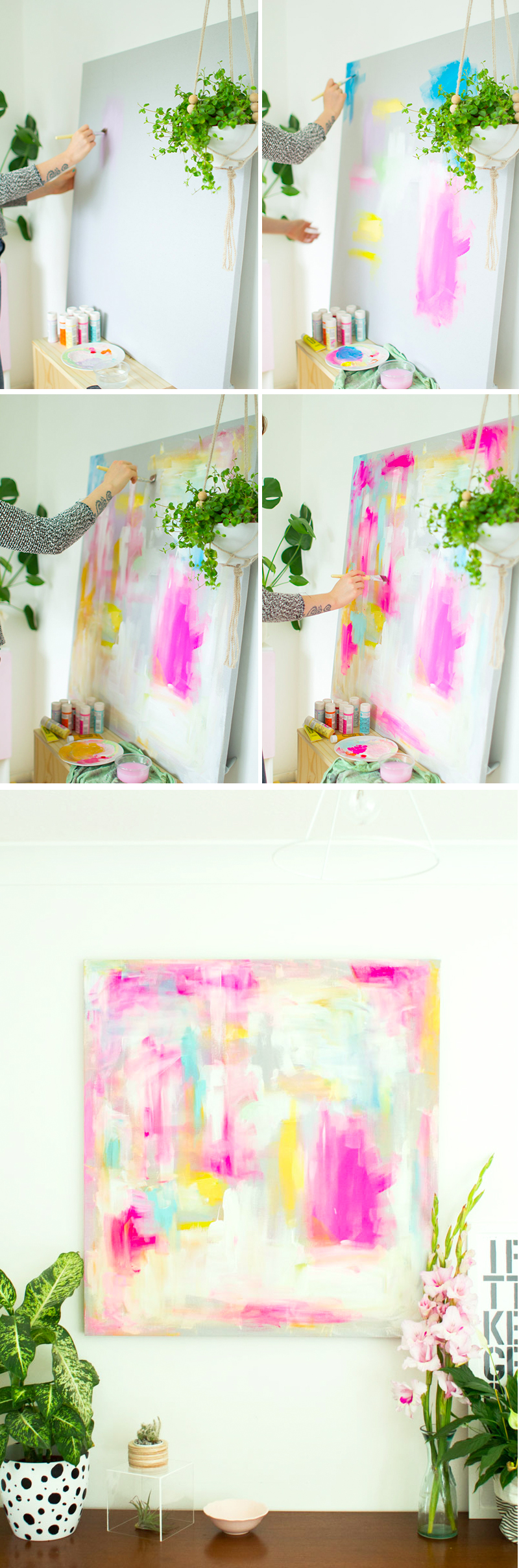 DIY Abstract Artwork - Furniture Hacks | Fall For DIY