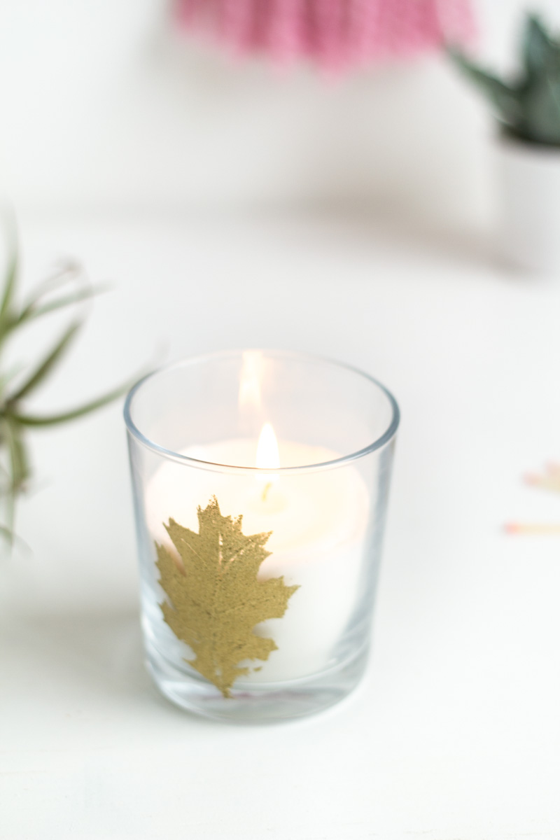 Embossed Autumn Leaf Candle | Fall For DIY