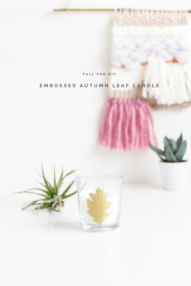 Embossed Autumn Leaf Candle tutorial | Fall For DIY