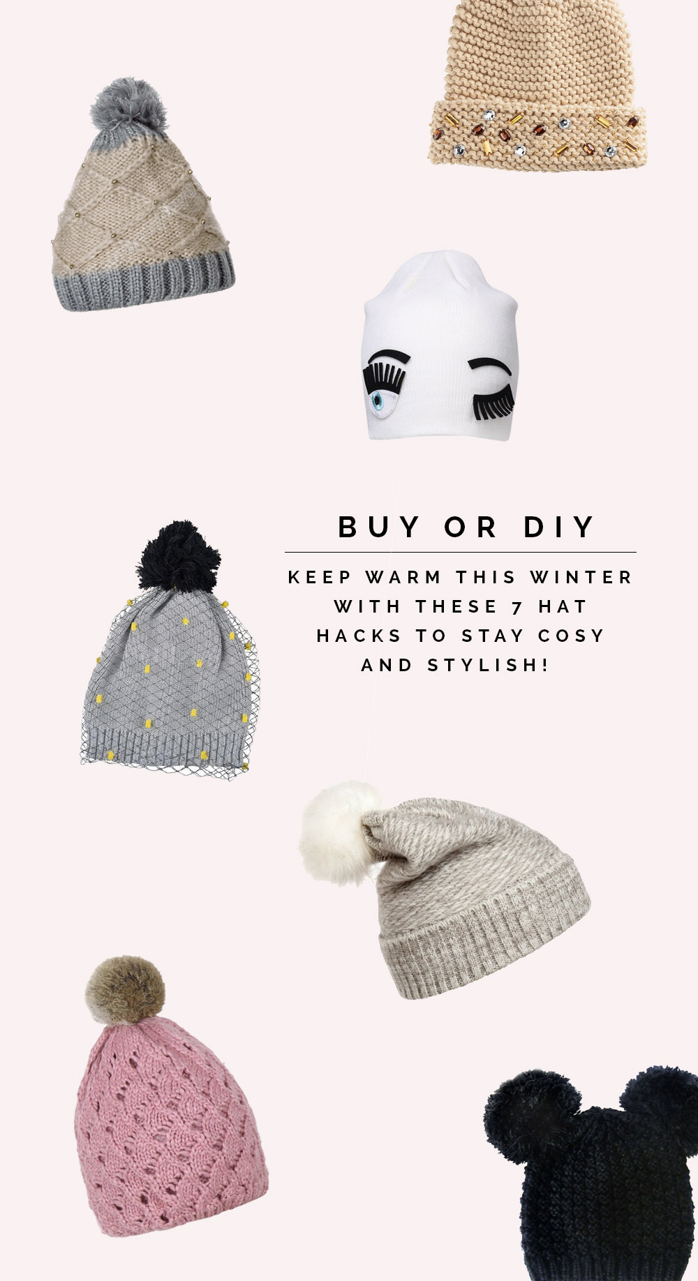 Buy or DIY 7 Stylish winter hat hacks