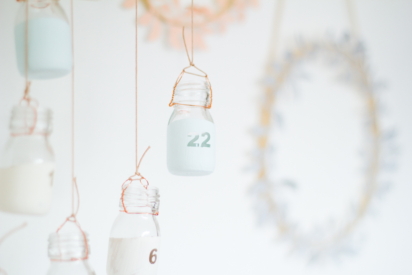DIY Paint Dipped Advent Calendar Bottles | Fall For DIY