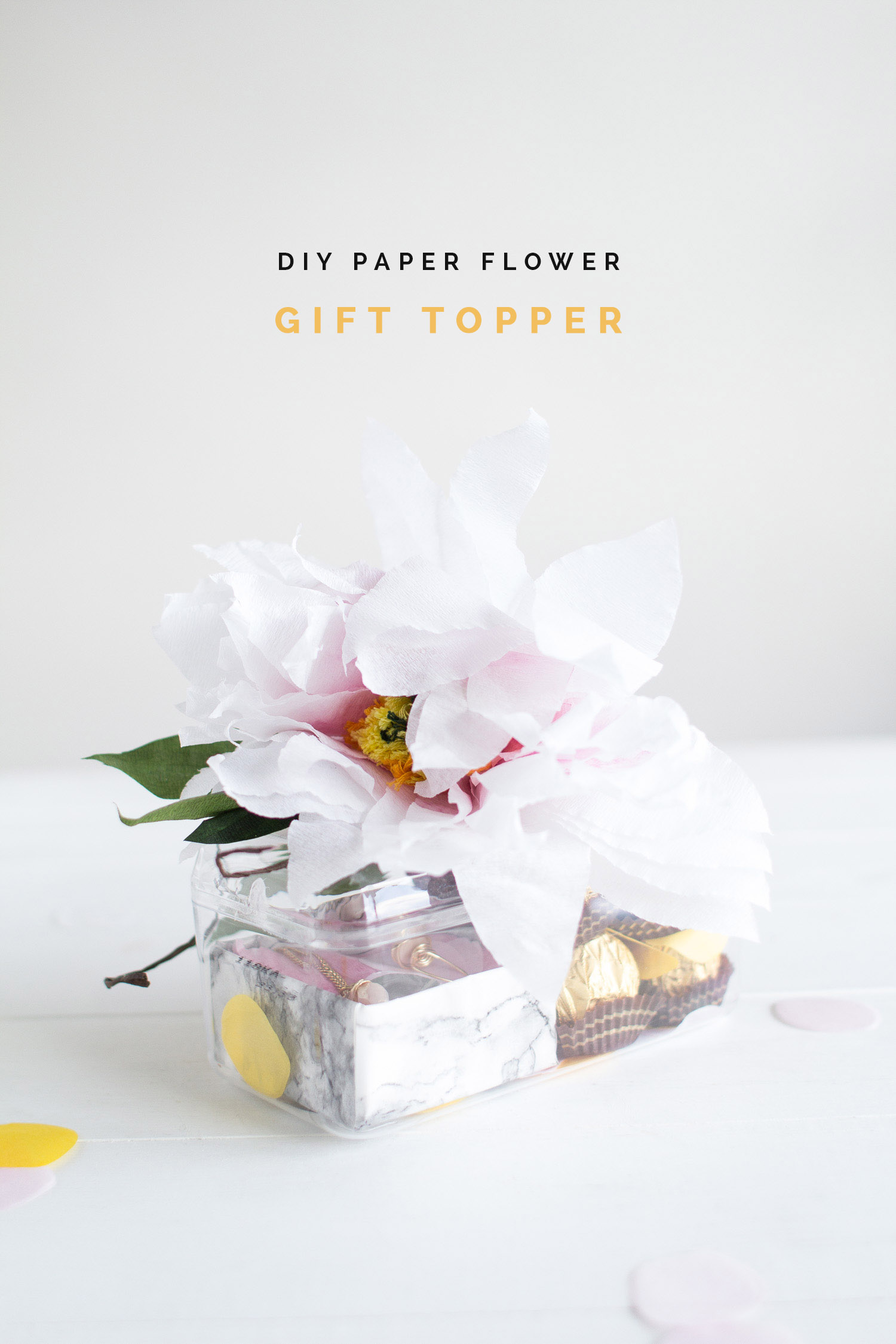 diy paper flower gift topper