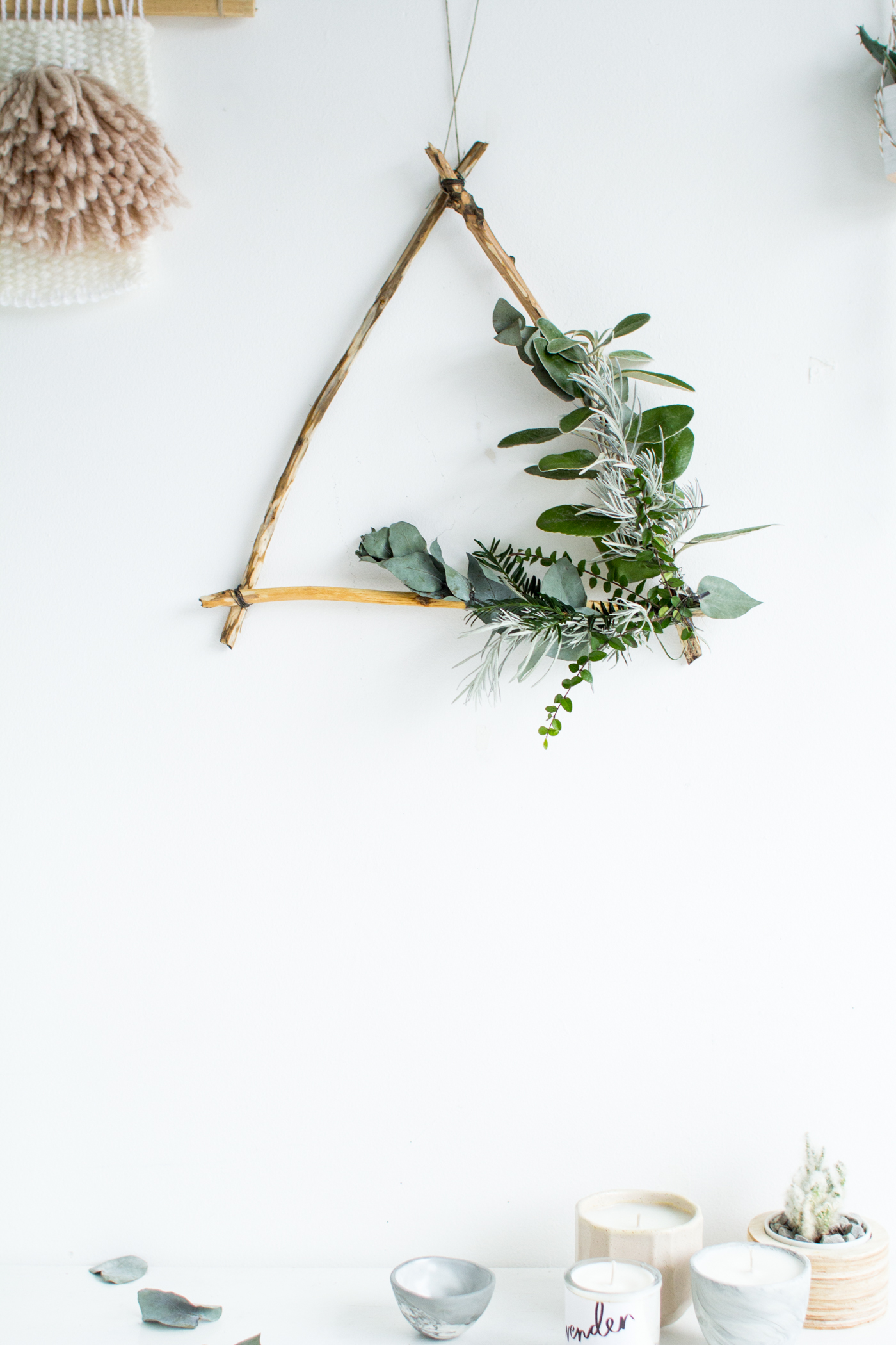 DIY Foraged Triangle Christmas Wreath