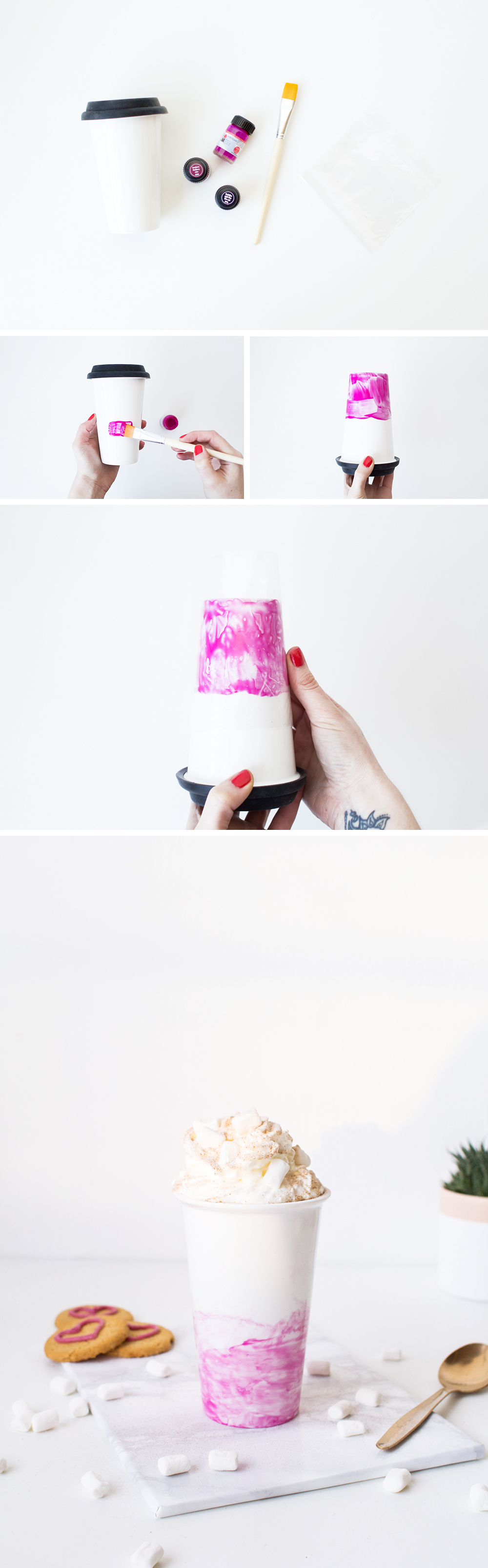 DIY Watercolour Valentines Travel Cup tutorial | @fallfordiy