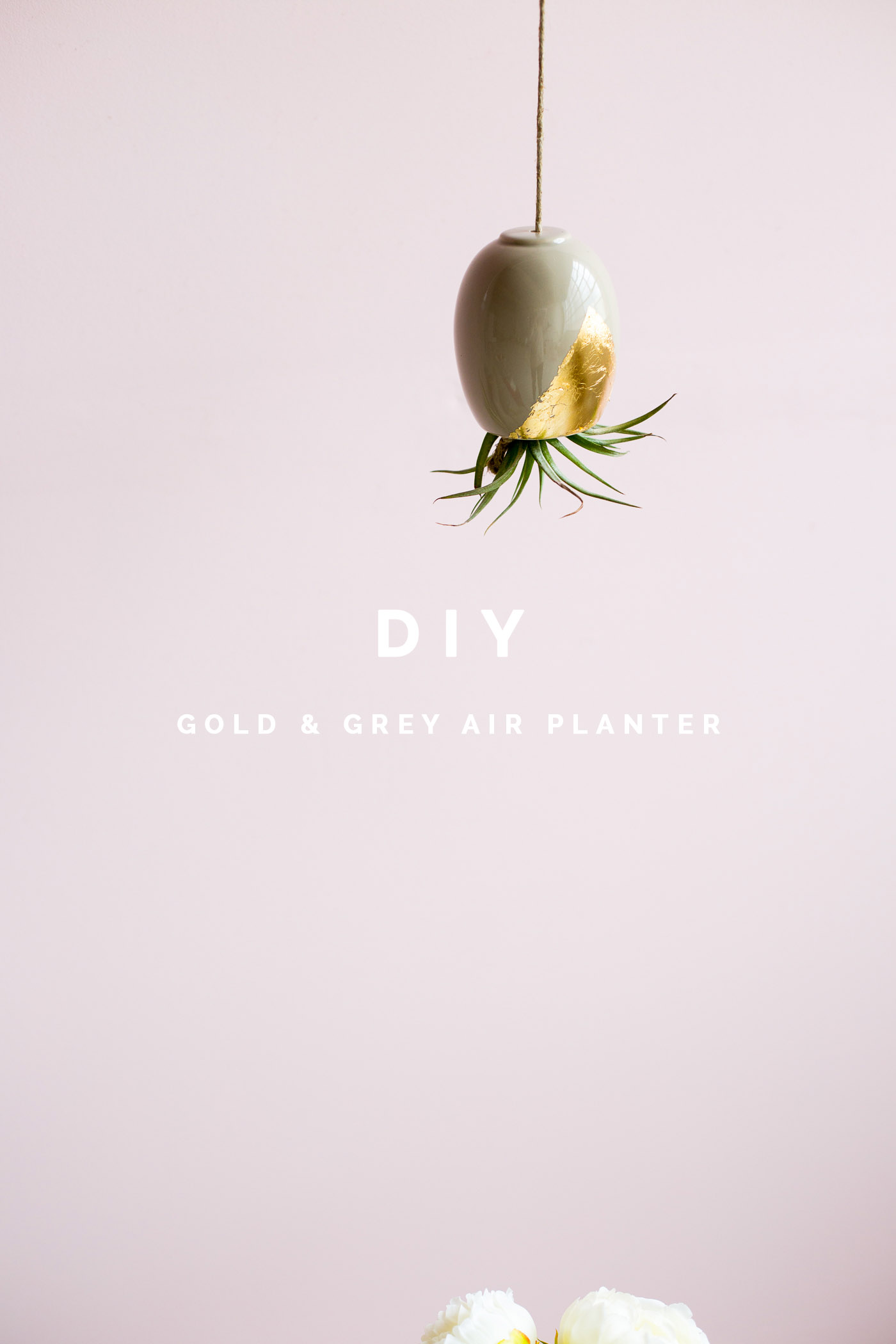 DIY Gold & Grey Hanging Air Planter Tutorial | Fall For DIY