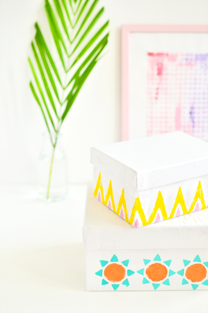 DIY Modern Print Fabric Storage Boxes 2