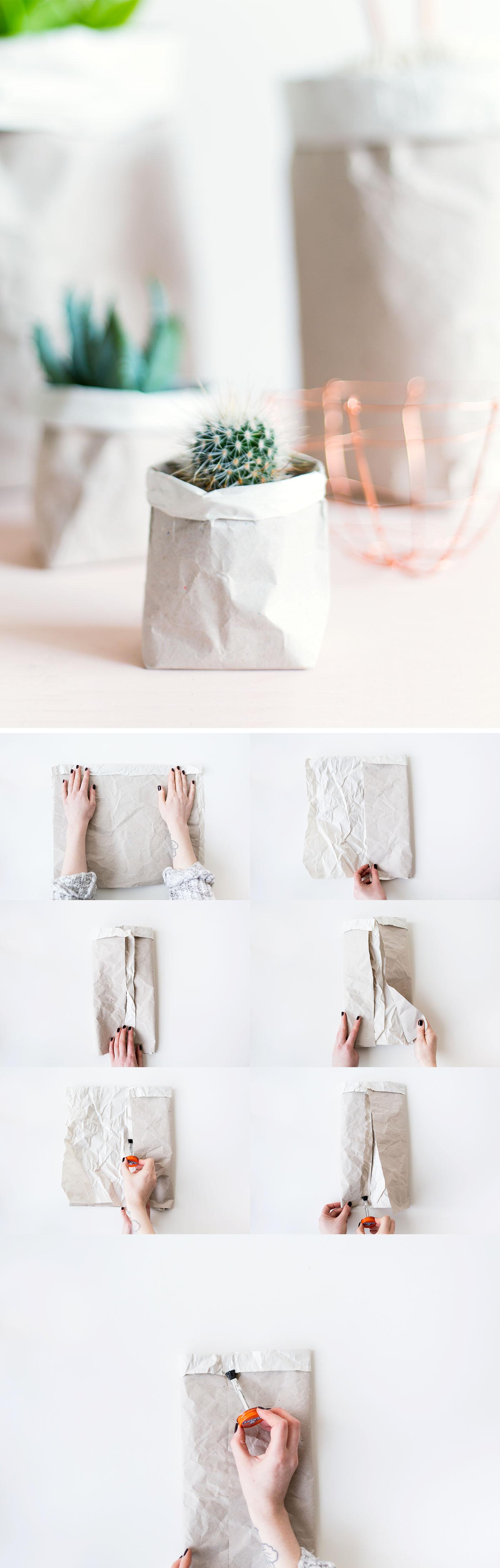 DIY Packing Paper Sack Planters | @fallfordiy