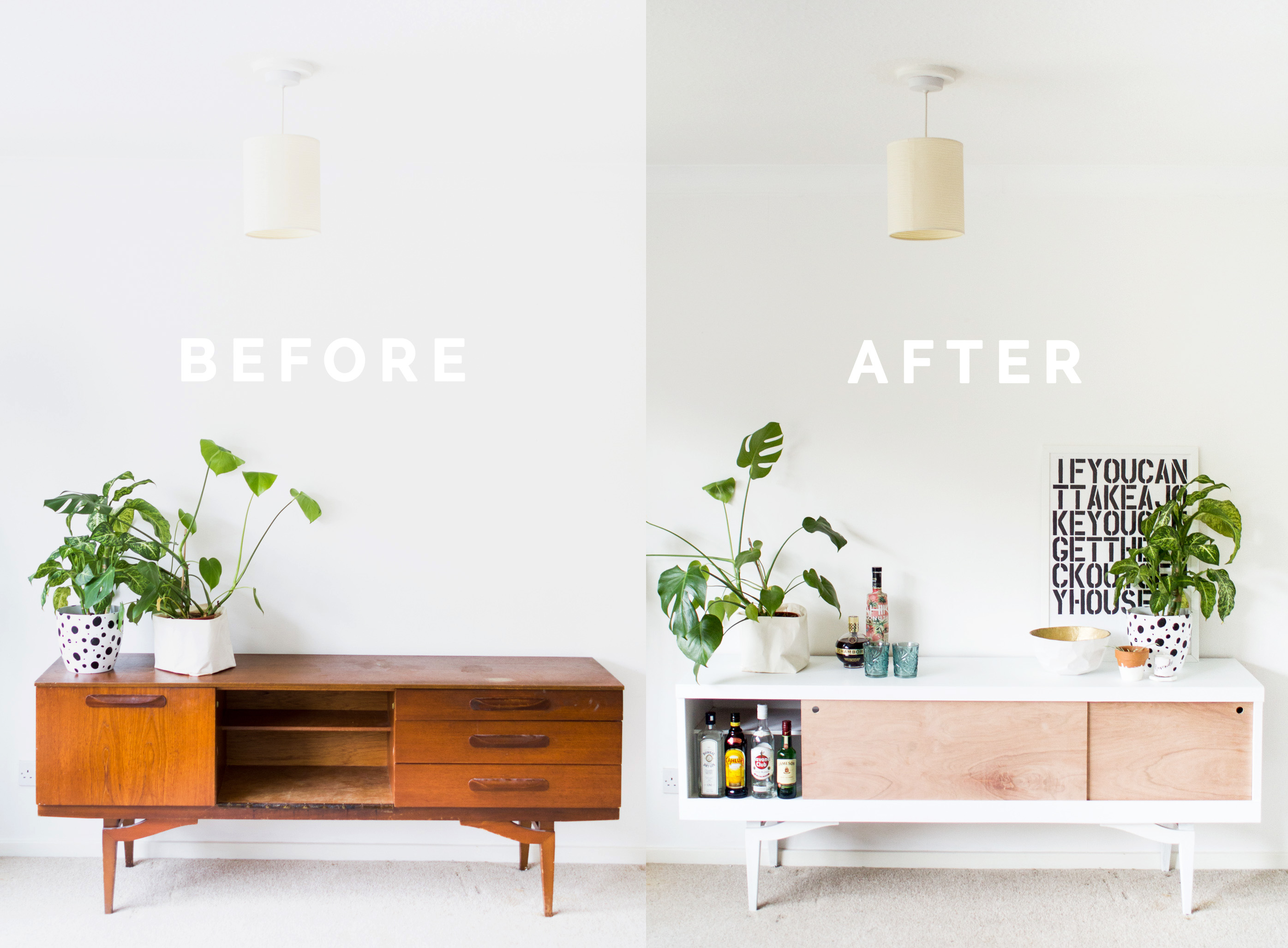 DIY Sideboard Makeover styled before and after landscape