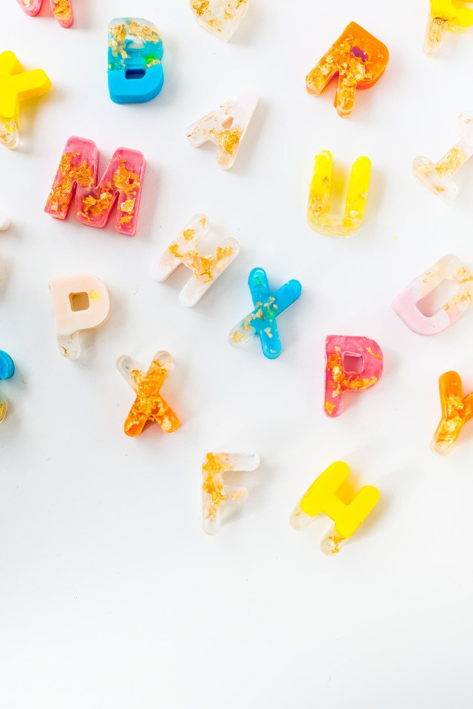 DIY Gold leaf Colour Pop Letter Soaps | @fallfordiy-14