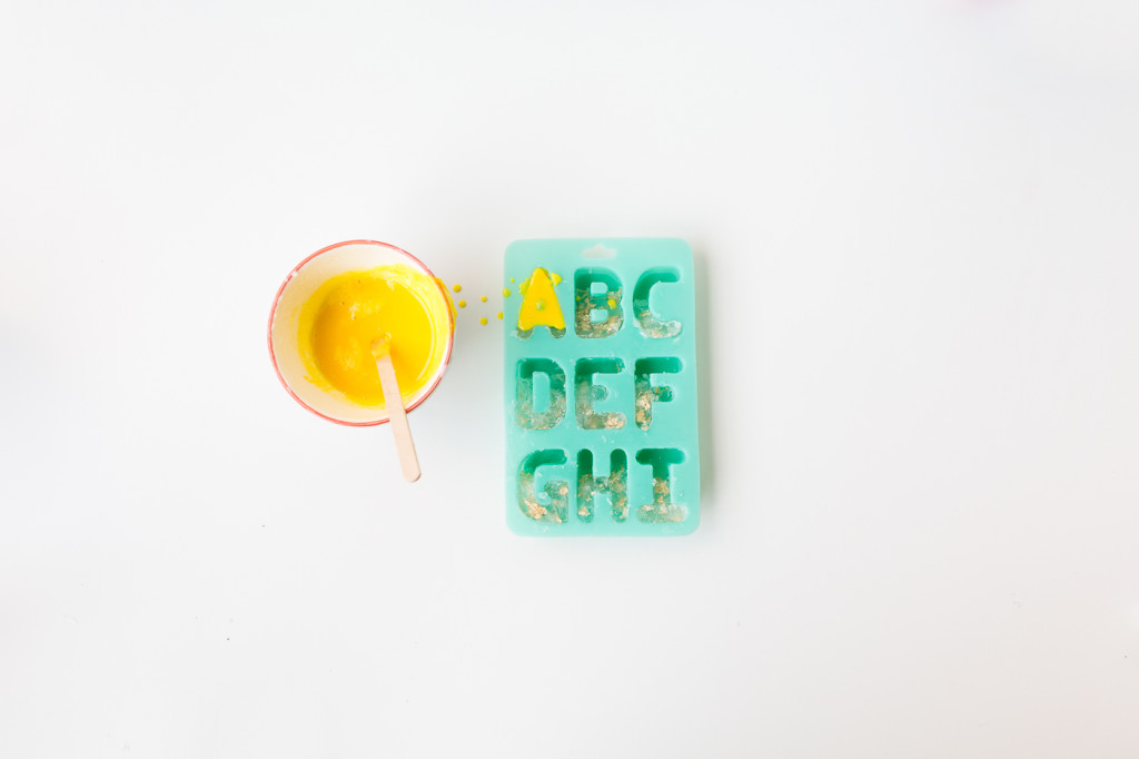 DIY Gold leaf Colour Pop Letter Soaps | @fallfordiy-4