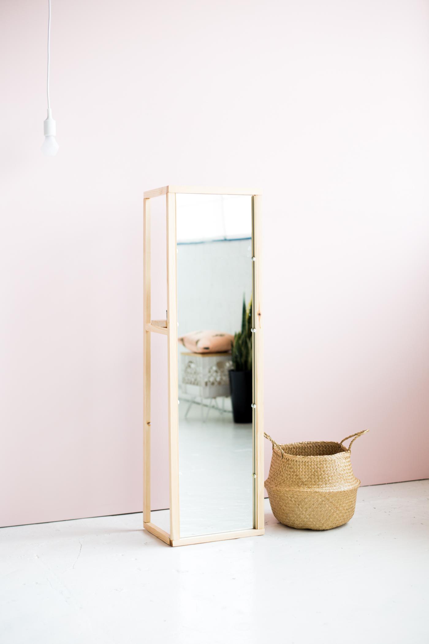 Diy wooden floor standing mirror with useful shelf for Mirror stand