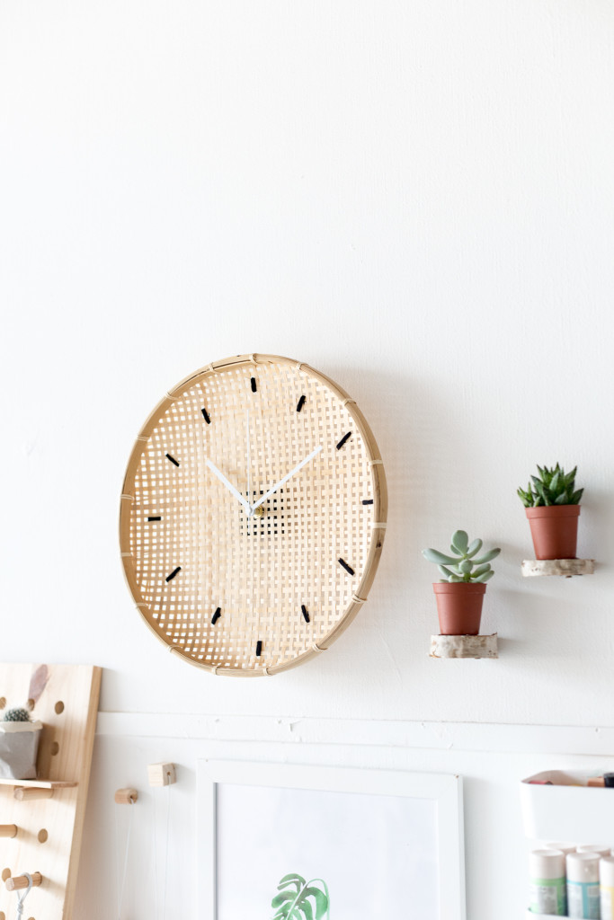 Make a DIY Embroidered Basket Clock