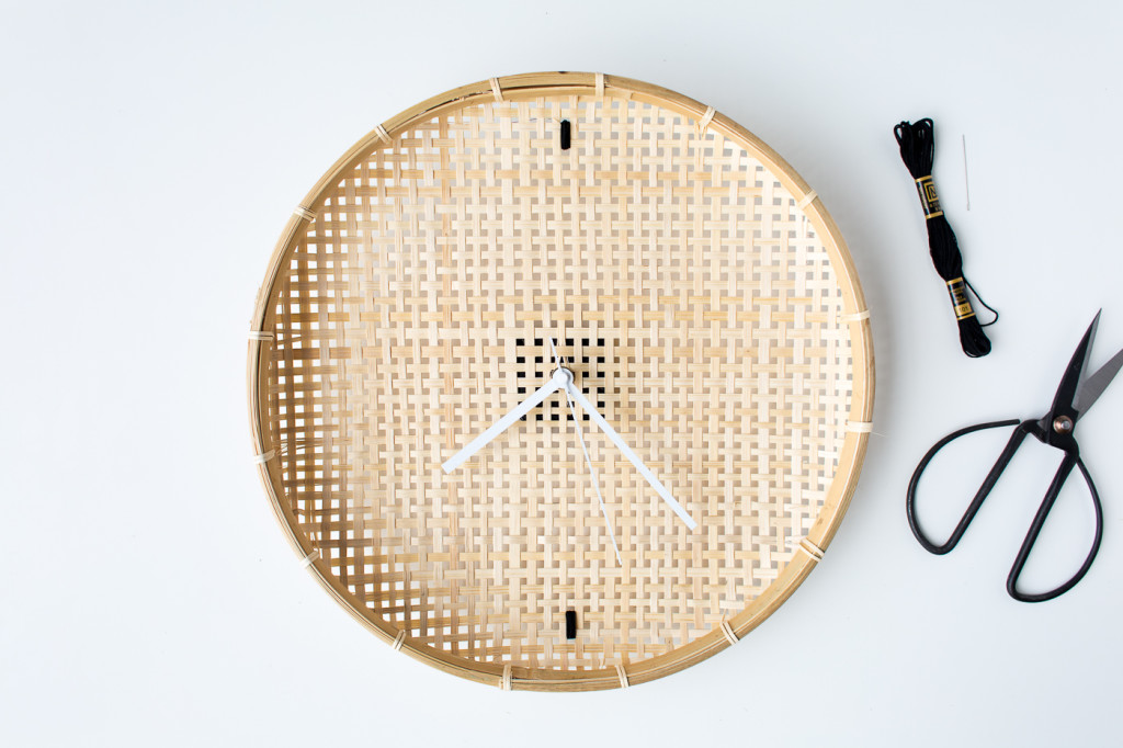 Make a DIY Embroidered Basket Clock-7