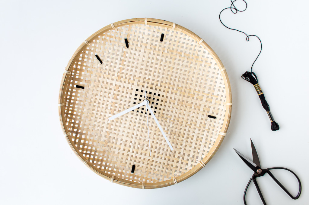 Make a DIY Embroidered Basket Clock-8
