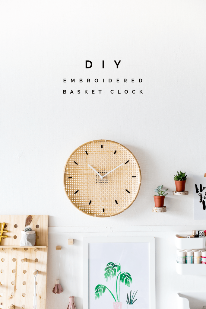 Make a DIY Embroidered Basket Clock tutorial