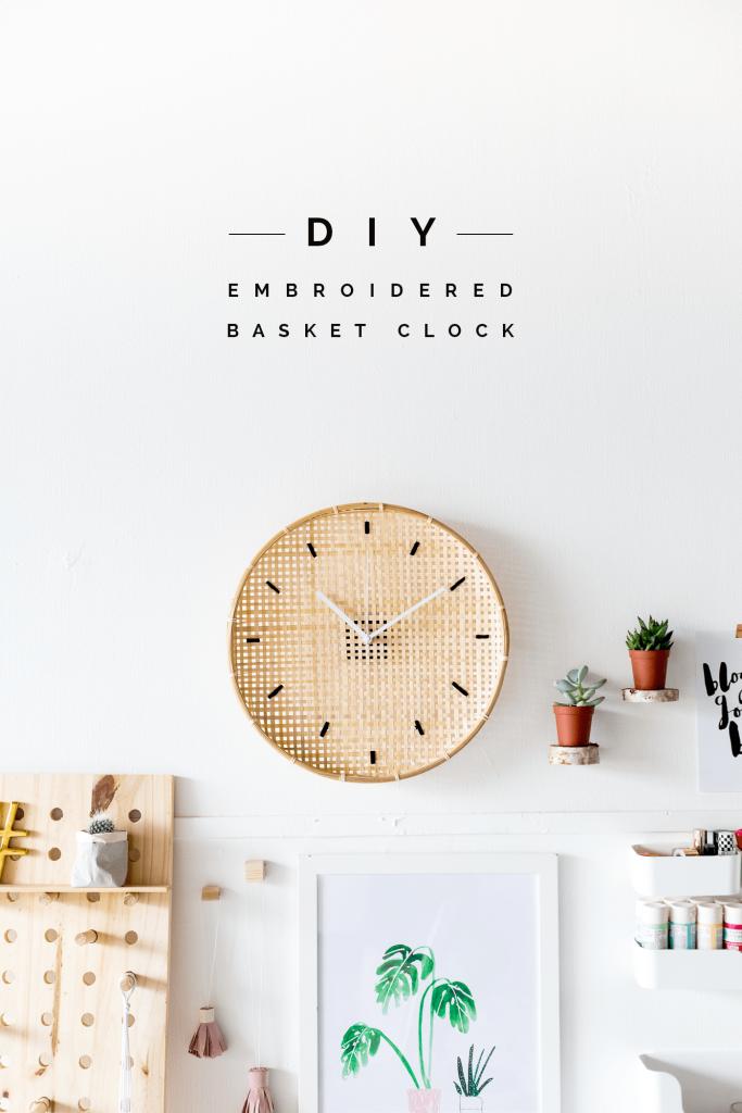 Make a DIY Embroidered Basket Clock tutorial