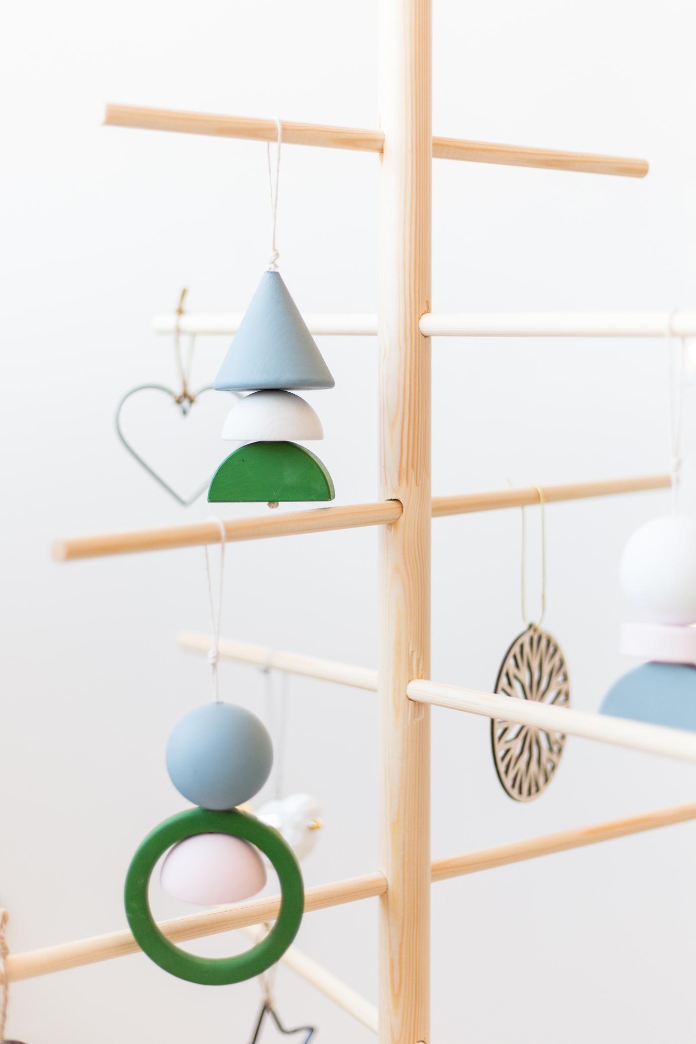 DIY Contemporary Wood Block Hanging Christmas Decorations