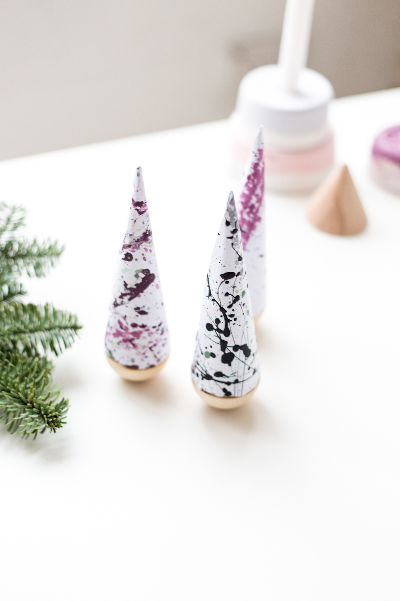 DIY Paint Splattered Christmas Trees