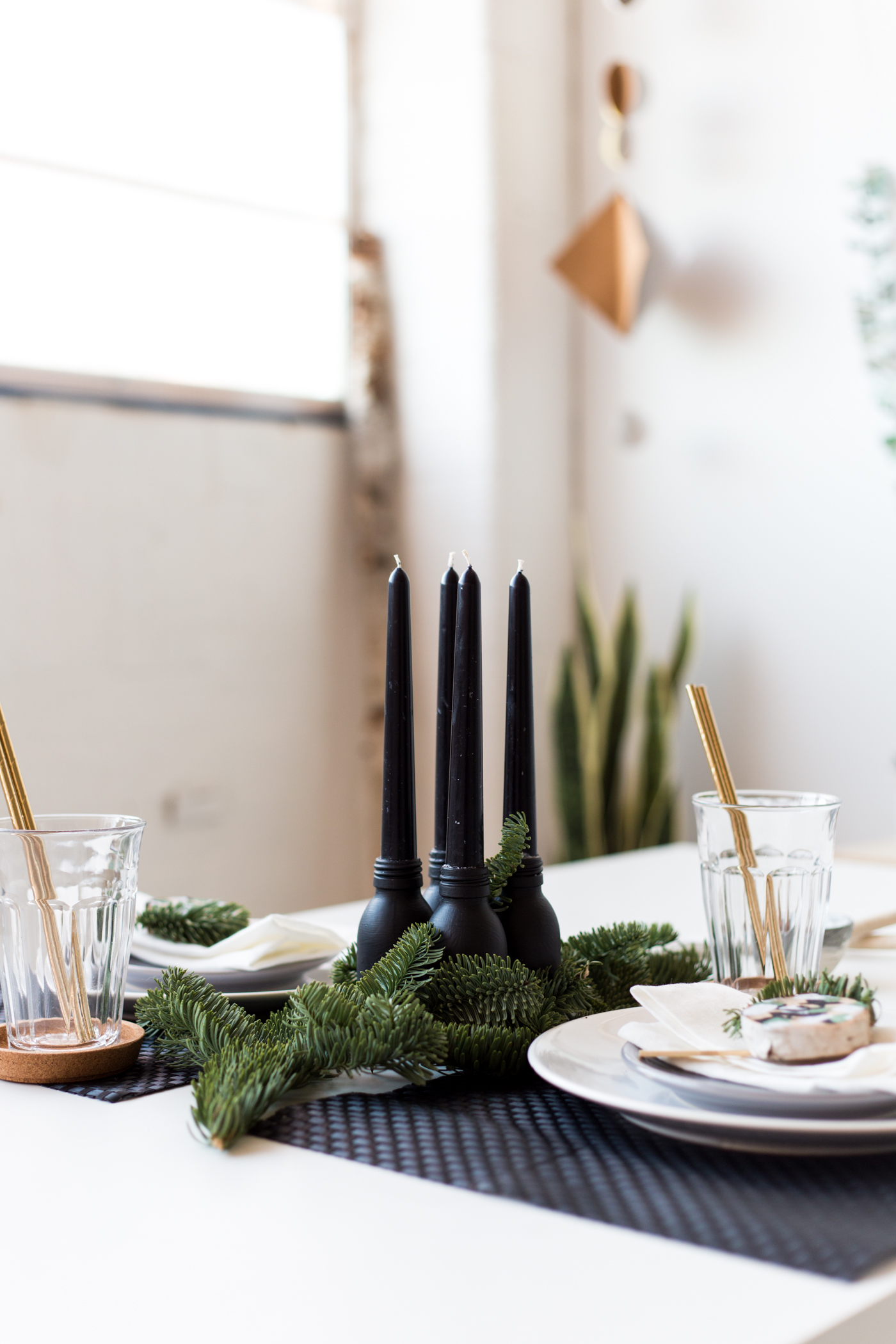 Painted Bottle Candle Centrepiece