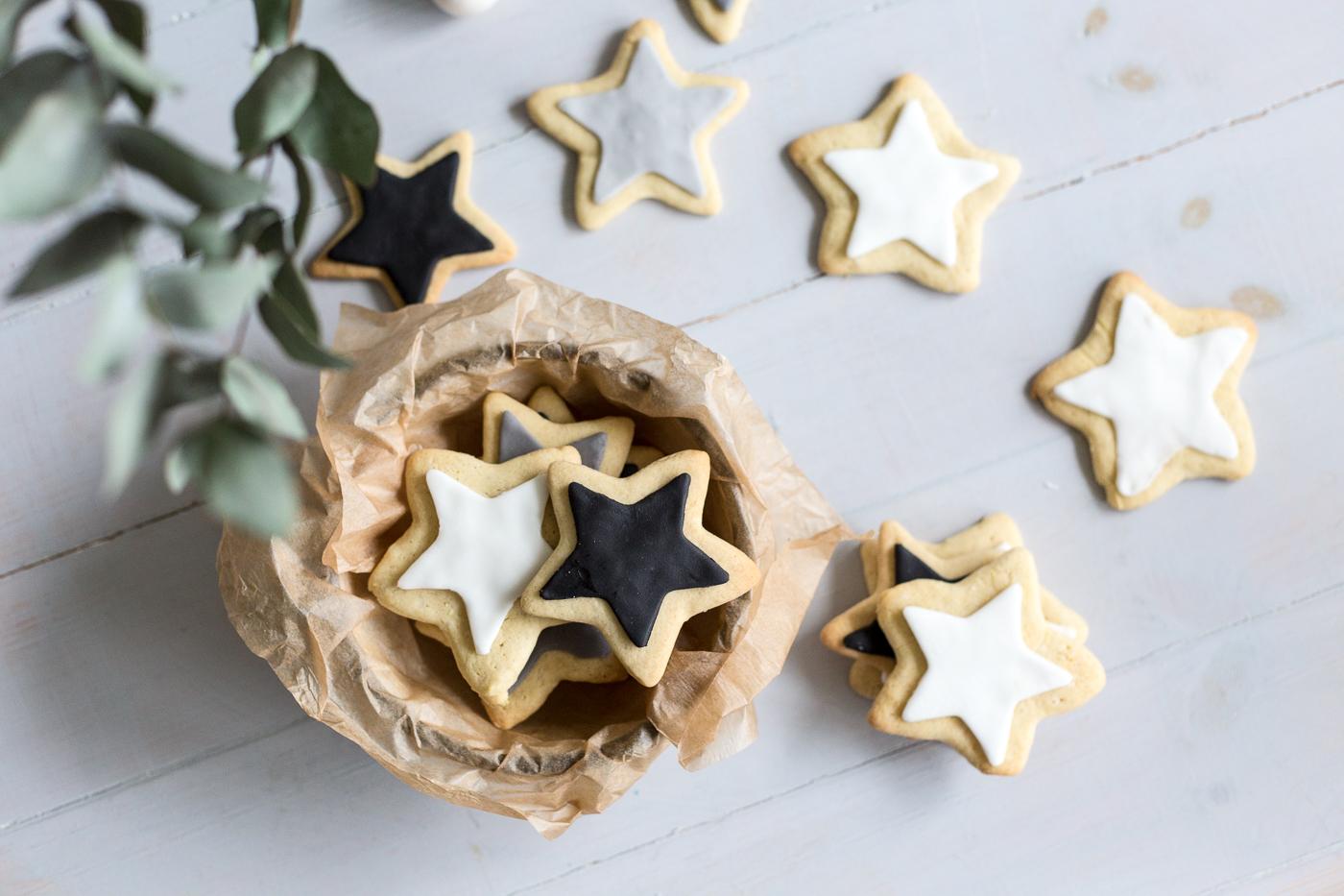 Monochrome Vegan Sugar Cookie Stars Recipe Fallfordiy