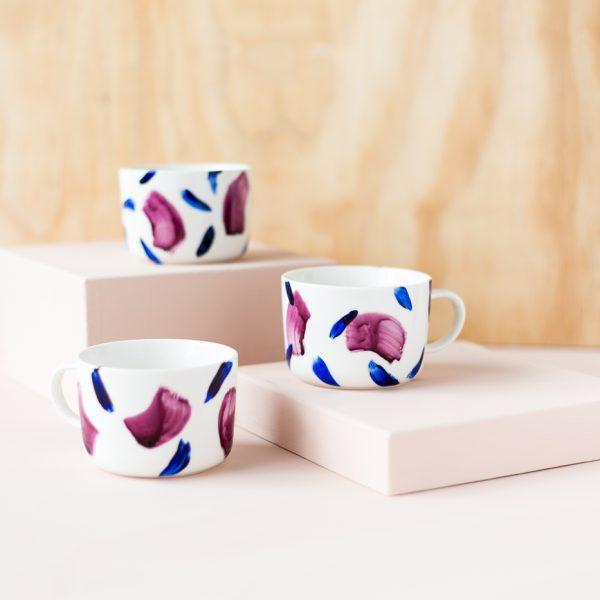 DIY Brush Painted Mugs