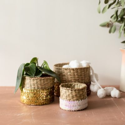 DIY Sequin Wrapped Baskets
