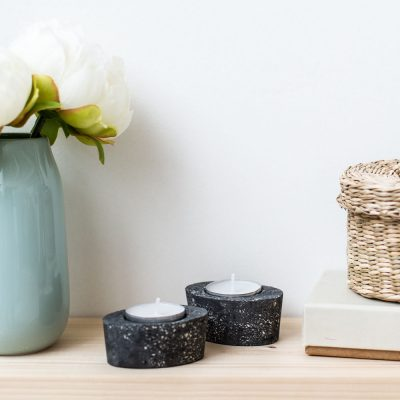 DIY Black Speckled Concrete Tea Light Candle Holders