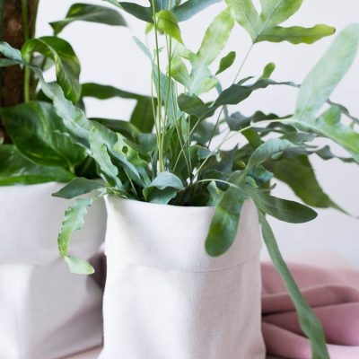 DIY Canvas Fabric Planters made from Plastic Bottles