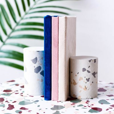 How to Create a Terrazzo Print on Almost Anything PLUS DIY Terrazzo Concrete Book Ends
