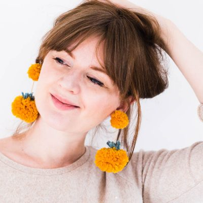 DIY Halloween Pom Pom Pumpkin Earrings