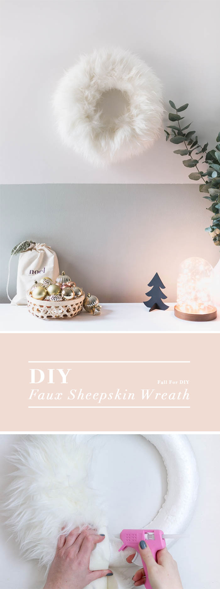 DIY Faux Sheepskin Christmas Wreath | @fallfordiy