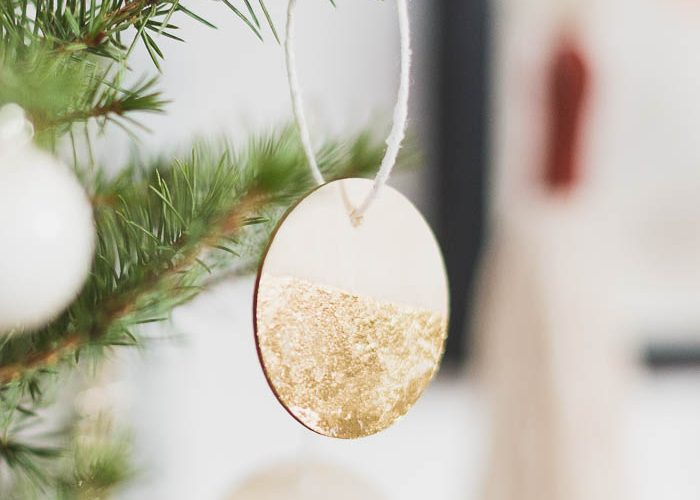 DIY Gold Dipped Wooden Tree Decorations