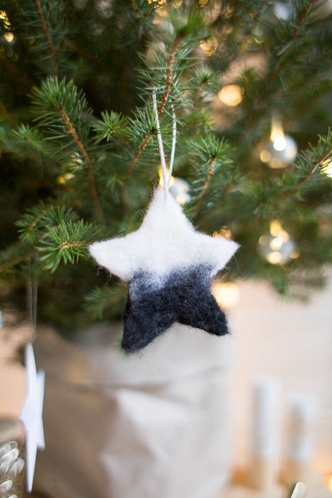 DIY Needle Felted Christmas Tree Star Ornaments