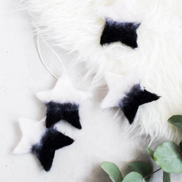 DIY Needle Felted Christmas Star Tree Ornaments