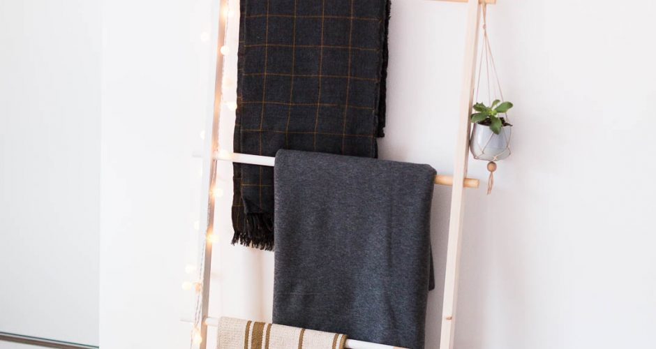 DIY Half Painted Blanket Ladder