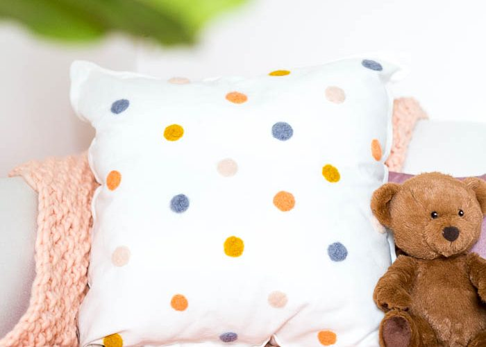DIY Needle Felted Pom Pom Cushion