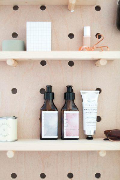 DIY Standing Vanity with Pegboard & Hidden Mirror Storage