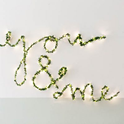 DIY Wedding String Light Folliage Sign | @fallfordiy