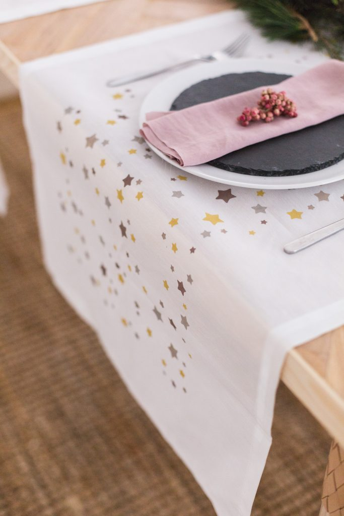 DIY Printed Table Runner with Vintage Paint
